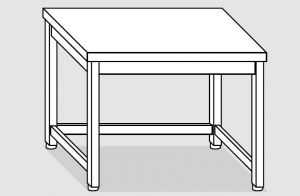 EUG2207-08 tavolo su gambe ECO cm 80x70x85h-piano liscio - telaio inferiore su 3 lati