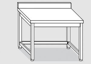 EUG2217-14 tavolo su gambe ECO cm 140x70x85h-piano con alzatina - telaio inferiore su 3 lati