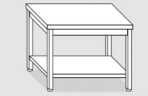 EUG2308-14 tavolo su gambe ECO cm 140x80x85h-piano liscio - ripiano inferiore