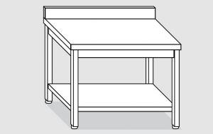 EUG2317-18 tavolo su gambe ECO cm 180x70x85h-piano con alzatina - ripiano inferiore