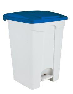 T101455 White Blue Plastic pedal bin 45 liters 3 pcs (multiple 3 pcs)