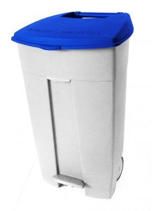 T102035 Mobile plastic pedal bin White Blue 120 liters (multiple 3 pcs)