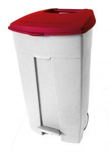 T102037 Mobile plastic pedal bin White Red 120 liters (multiple 3 pcs)