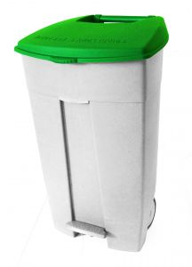 T102038 Mobile plastic pedal bin White Green 120 liters (multiple 3 pcs)
