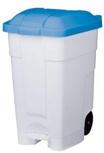 T102045 Mobile plastic pedal bin White Blue 70 liters (multiple 3 pcs)
