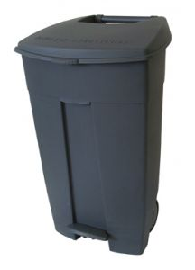 T102530 Mobile plastic pedal bin Grey 120 liters