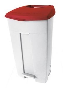 T102537 Mobile plastic pedal bin White - red 120 liters