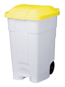 T102546 Mobile plastic pedal bin White Yellow 70 liters