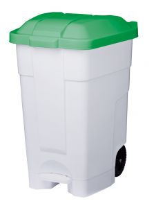 T102548 Contenitore mobile a pedale plastica bianco-verde 70 litri
