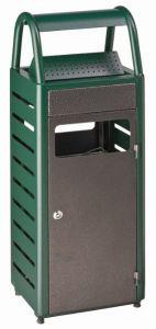 T103011 Gettacarte con posacenere 4+25 verde-silver per esterni