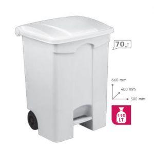 T115070 Contenitore mobile a pedale in plastica BIANCO 70 litri (confezione da 3 pezzi)