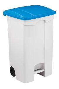 T115095 Contenitore mobile a pedale in plastica bianco coperchio blu 90 litri (multipli 3 pz)