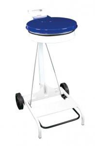 T601045 Portasacco mobile metallo bianco con coperchio BLU e pedale