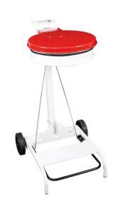 T601047 Portasacco mobile metallo bianco con coperchio ROSSO e pedale