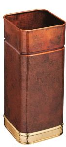 T700107 Portaombrelli quadrato in rame con bordi in ottone