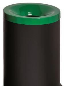 T770028 Gettacarte antifuoco corpo metallo nero coperchio Verde 90 litri