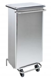 T790664 Polished Stainless steel Wheeled pedal waste bin 110 liters s.steel tubes