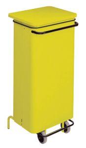 T791226 Contenitore mobile acciaio giallo con pedale 110 litri