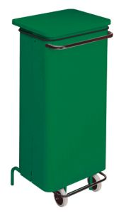 T791228 Green Metal waste containers with pedal and wheels 110 liters