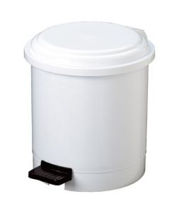 T906503 White Plastic pedal bin 3 liters (Pack of 12 pieces)