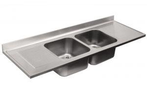 LV7063 Top lavello in acciaio inox AISI 304 dim.2200X700 2V 2 SG