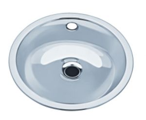 LX1130 Circular washbasin decentralized waste stainless steel 290x330x143 mm- SATIN -