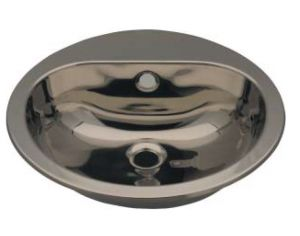 LX1230 Circular washbasin with tap hole in stainless steel 414x490x160 mm - LUCIDO -