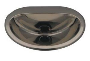 "LX1330 ""Cin"" oval washbasin in stainless steel 465x400x155 mm - SHINY -"