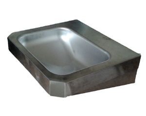 "LX1360 Rectangular washbasin ""Chigi"" with stainless steel shelves 500x445x133 mm -SATINATO -"