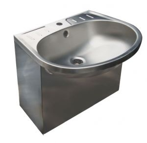 LX1420 Washbasin with sealed apron in stainless steel 550x450x425 - SATIN-