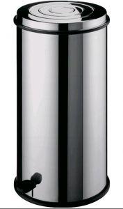 AV4661 Pattumiera cilindrica acciaio inox con cestello interno e pedale 40 litri