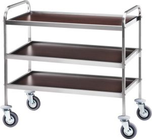 CA 1051W Stainless steel service trolley 3 shelves Wengé 103x57x97h