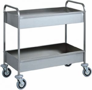 CA 1389 Stainless steel clearing trolley Two basins h150