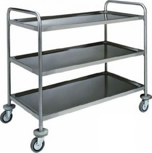 CA 1411 Stainless steel service trolley 3 shelves load 100 kg 110x60x104h