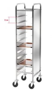 CA1451RP Stainless steel Reinforced tray-holder trolley 10 trays side panels
