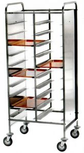 CA1460PII Stainless steel tray-holder trolley for 20 trays Side panels