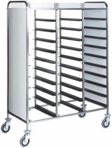 CA1471RP Stainless steel reinforced tray-holder trolley 30 trays white side panels