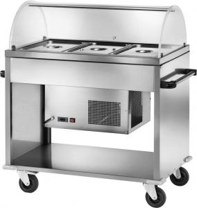 CAR2780  Stainless steel Refrigerated trolley plx dome (+2 +10°C) 3 GN1/1