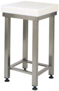 CCP8001 Strain polyethylene 80h stool with tubular steel. 50x50x880 h