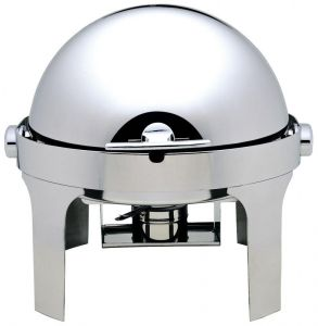 CD6504  Polished stainless steel Round chafing dish with roll top lid 180°