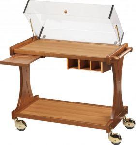 CL2350 Carrello per dolci formaggi antipasti legno 2 piani cupola 86x55x95h