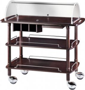 CLC 2013W Wooden trolley wenge with plexiglass dome 3 shelves