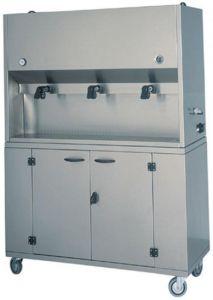 DCM1699 Distributore colazioni armadio inox su ruote 2 recipienti 15 litri 75x41x135h