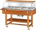 TELC 2834 Carro espositore legno caldo bagnomaria (+30°+90°C) 4x1/1GN cupola pianetto