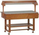 ELN2835W Espositore in legno Wengé neutro su ruote per buffet